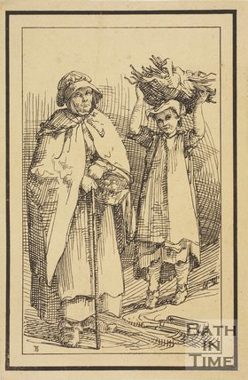 Rustic figure woman with basket and child carrying basket on head sketched from life by Thomas Barker, c.1800