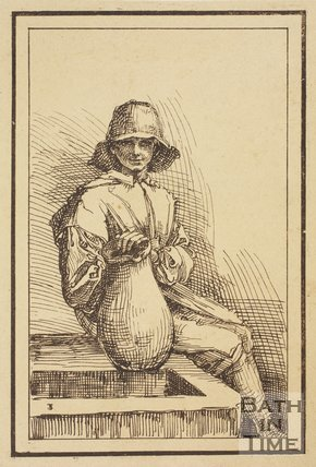 Rustic figure with flagon sitting on tank sketched from life by Thomas Barker, c.1800