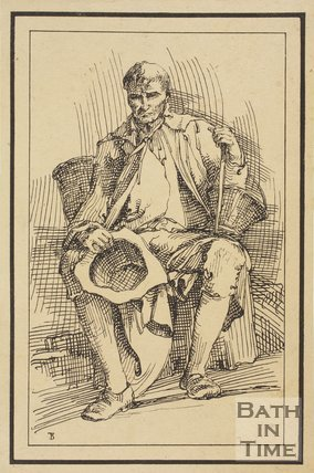 Rustic figure man with hat and stick and baskets seated sketched from life by Thomas Barker, c.1800