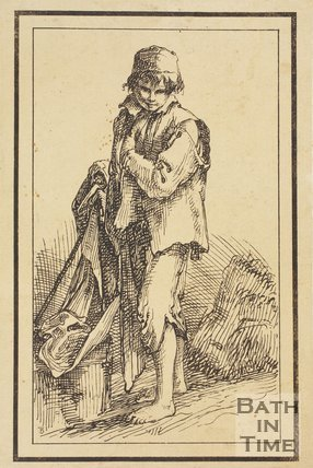 Rustic figure shoeless urchin sketched from life by Thomas Barker, c.1800