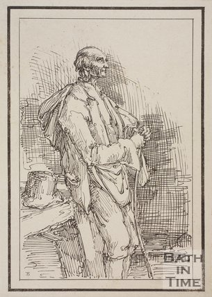 Rustic figure old man with hat removed and stick sketched from life by Thomas Barker, c.1800