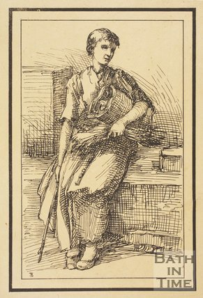 Rustic figure seated holding straw and rolled item sketched from life by Thomas Barker, c.1800
