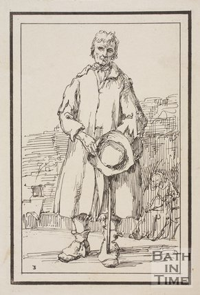 Rustic figure man holding hat and stick with old woman in background sketched from life by Thomas Barker, c.1800