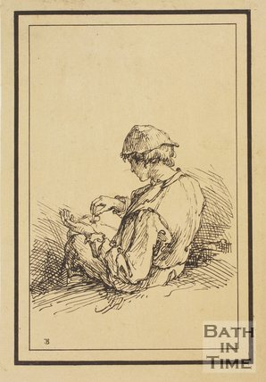 Rustic figure seated boy holding a dragonfly sketched from life by Thomas Barker, c.1800