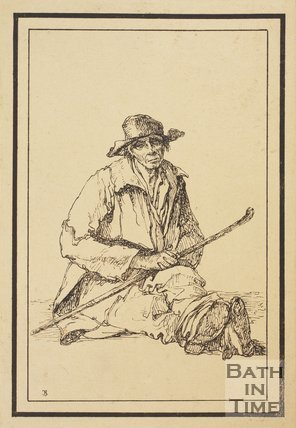 Rustic figure man sitting holding stick sketched from life by Thomas Barker, c.1800