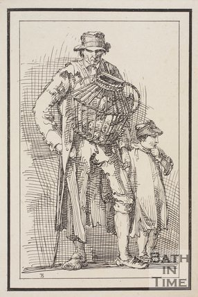 Rustic figure man with basket of hens around his neck accompanied by boy sketched from life by Thomas Barker, c.1800