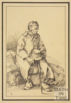 Rustic figure man seated holding hat and stick sketched from life by Thomas Barker, c.1800