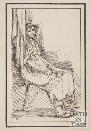Rustic figure smiling girl seated sketched from life by Thomas Barker, c.1800
