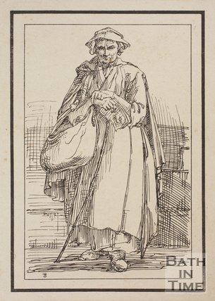 Rustic figure woman with basket and stick holding printed paper sketched from life by Thomas Barker, c.1800