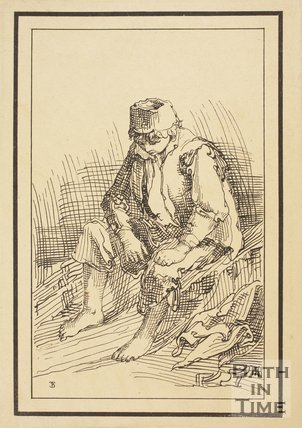 Rustic figure shoeless seated boy sketched from life by Thomas Barker, c.1800