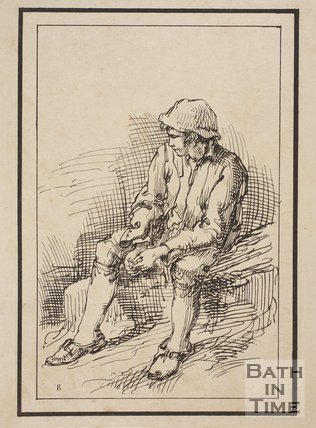 Rustic figure seated boy with hat sketched from life by Thomas Barker, c.1800