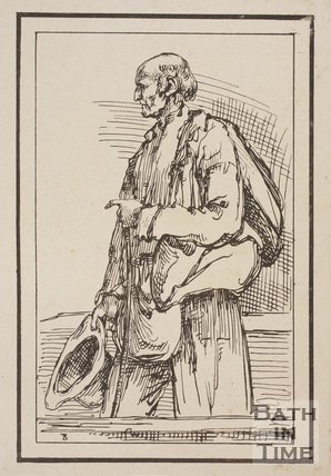 Rustic figure old man with stick holding hat pointing with crooked finger sketched from life by Thomas Barker, c.1800