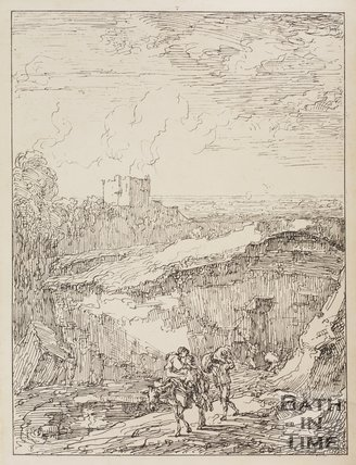 View of a stone quarry on Lansdown, Bath by Thomas Barker, 1814