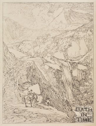 Waterfall above Coniston Lake under the Man's Mountain, Cumberland by Thomas Barker, 1814