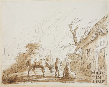 Sketch of two men, a horse next to a cottage with a church steeple in the background by Thomas Barker (1769 - 1849)