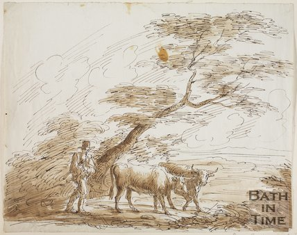 Sketch of a man with two cows by Benjamin Barker, 1826