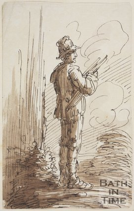 Sketch of a man with a hat by Thomas Jones Barker (1815 - 1870)