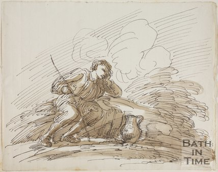 Sketch of a seated man with a stick and jug, by Thomas Barker (1769 - 1849)