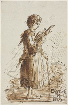 Sketch of a girl holding sticks by Thomas Barker (1769 - 1849)
