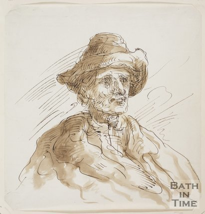 Sketch of an old man with a hat by Thomas Barker (1769 - 1849)