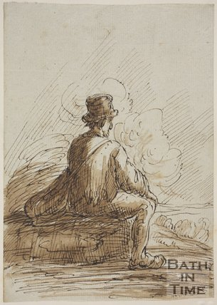 Sketch of a seated by with a shoulder bag by Thomas Barker (1769 - 1849)