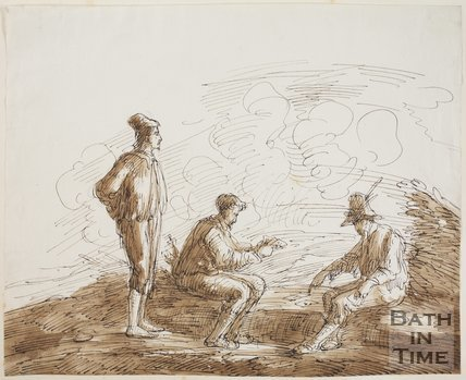 Sketch of the Card Players by Thomas Barker (1769 - 1840)