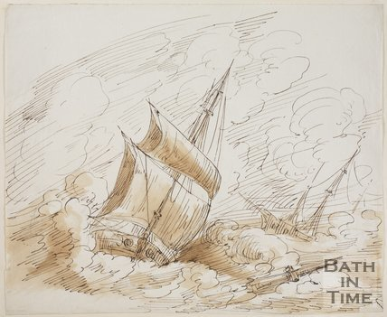 Sketch of a storm damaged ship by Thomas Jones Barker (1815 - 1870)
