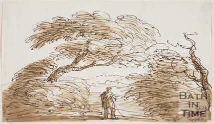 Sketch of a man with a stick under a tree by Thomas Barker (1769 - 1840)