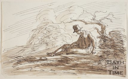 Sketch of a seated man under a tree by Thomas Barker (1769 - 1840)