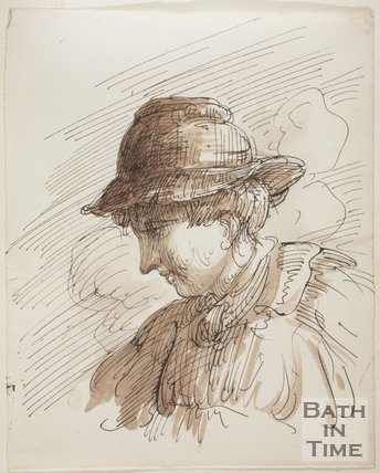 Sketch of a man with a hat by Thomas Barker (1769 - 1840)