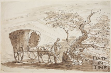 Sketch of Italian Gypsies resting under a tree by Thomas Barker (1769 - 1840)