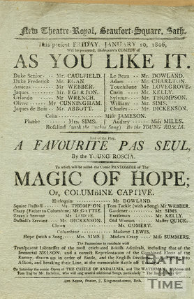 Shakespeare's As you Like it, New Theatre Royal, Beaufort Square, Bath, Friday January 10, 1806