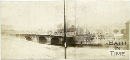 The Old Bridge, Bath, panorama, 1849