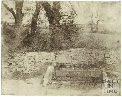 Photograph of a horse trough in an unknown location, c.1850