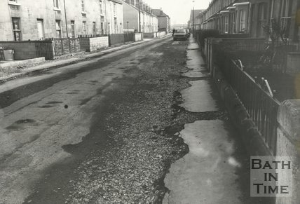 Locksbrook Road, Bath undergoing resurfacing, 25 March 1974