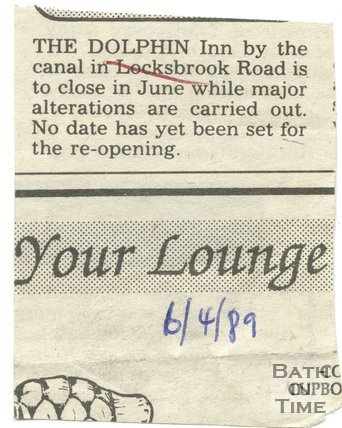 Dolphin Inn, Bath to close for refurbishment, 6 April 1989