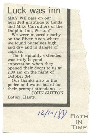Luck was inn - Dolphin Inn, Bath, 12 October 1988