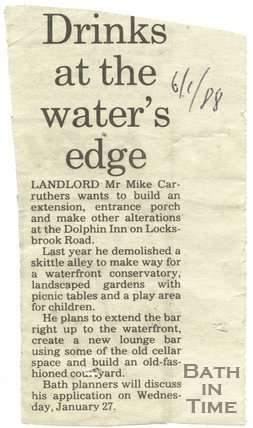 Drinks at the waters edge - Dolphin Inn, Bath, 6 January 1988