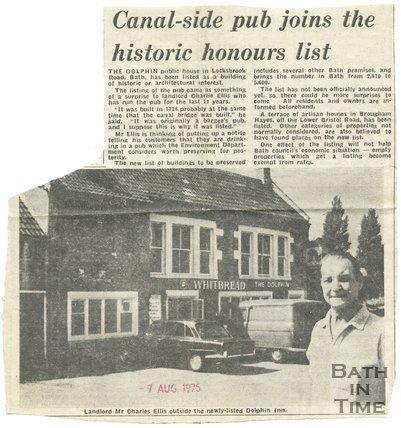 Canal-side pub joins the historic honours list - Dolphin Inn, Bath, 7 August 1975