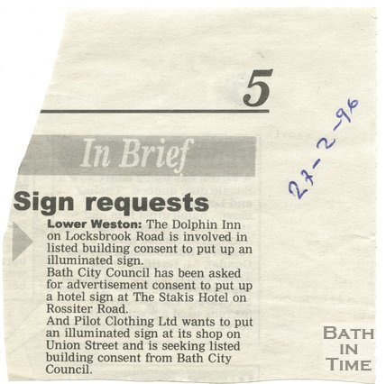 Sign requests - Dolphin Inn, Bath, 27 February 1996