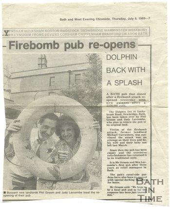 Firebomb pub re-opens - Dolphin Inn, Bath, 6 July 1989
