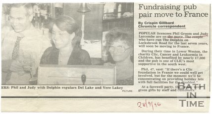 Fundraising pub pair move to Frome - Dolphin Inn, Bath, 28 September 1996