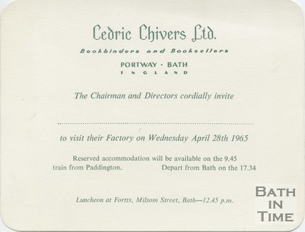 Invitation to Cedric Chivers bookbinders, Portway, Bath April 28th, 1965