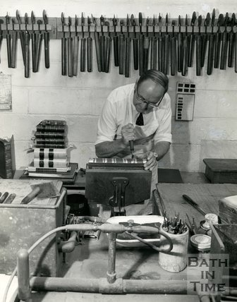 At work at Cedric Chivers bookbinders, Portway House, Combe Park, Bath, 1983