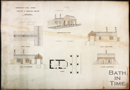 Somersetshire Coal Canal. Plan of offices and Weighing Engine, Midford, c.1870s?