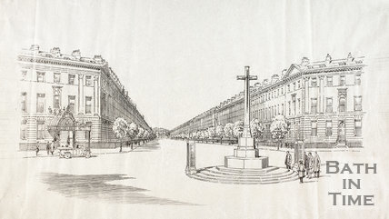 Design of a proposed War Memorial at Laura Place, Great Pulteney Street, Bath