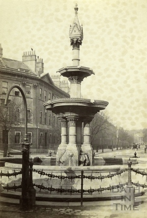 The fountain in Laura Place, Bath c.1900
