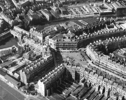 Aerial view of Laura Place and the River Avon, Bath 1950s