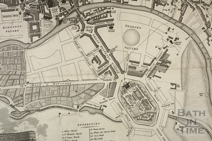 A New and Correct Plan of the City of Bath showing the proposed Pulteney Estate designed by Thomas Baldwin 1810 - detail