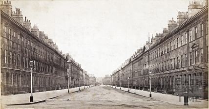 View from the Holburne Museum looking towards Laura Place, Great Pulteney Street, Bath 1874